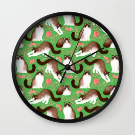 Ragdoll Cats and Knitwork (Green Background) Wall Clock