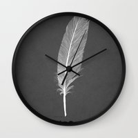 black swan Wall Clocks featuring Black Swan by Martin Lucas