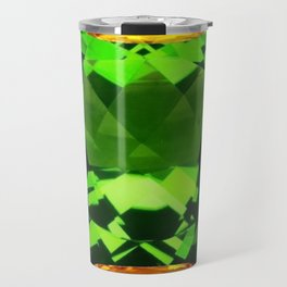 Emerald & Topaz Birthstone Gems Yellow-Green-Black Design Travel Mug