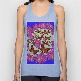 Blue & Yellow Butterflies  Pink Flowers Pattern Art Unisex Tank Top