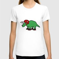 roller derby T-shirts featuring Roller Derby Triceratops by Jez Kemp