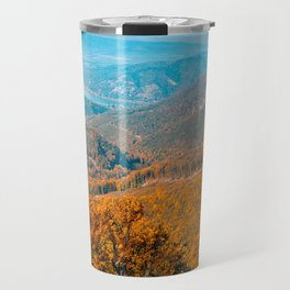 Autumn or fall forest view in the mountains, deciduous forest landscape Travel Mug