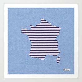 France Breton Stripe Fabric Map Art Art Print