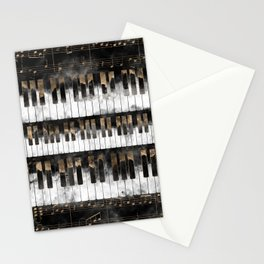 Piano keys and Notes - Watercolor and gold Stationery Cards
