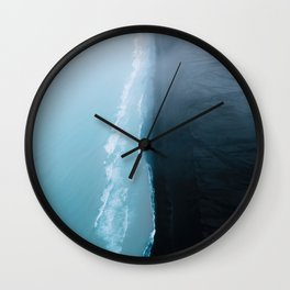 Black sand beach in Iceland on a wild and cloudy day at the Ocean - Landscape Photography Wall Clock