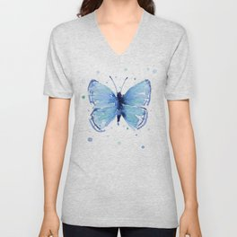 Blue Butterfly Watercolor Butterflies Animals Unisex V-Neck