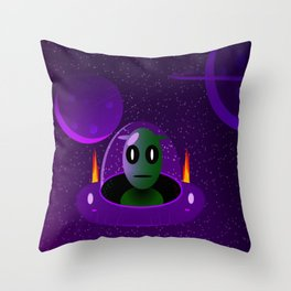 Alien space Throw Pillow