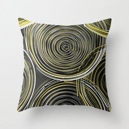 Black, white and yellow spiraled coils Throw Pillow