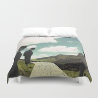 magritte Duvet Covers featuring Watching the boats come home by TRASH RIOT