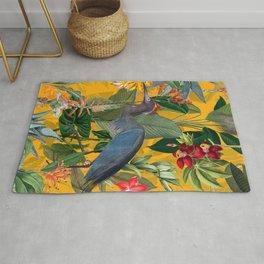 Vintage & Shabby Chic - Sunny Tropical Garden Blue Heron Rug