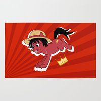 luffy Area & Throw Rugs featuring OP Pony Luffy by AbigailC