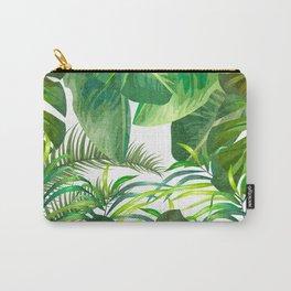 Tropical Leaf Pattern 02- Banana, Palm Leaf, Monstera Leaf - Green, Freshness, Tropical, Botanical Carry-All Pouch