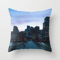 metropolis Throw Pillows featuring Metropolis by Pan Kelvin