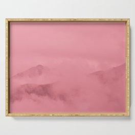 Rose Quartz Fog Surrounding Anchorage Mountains Serving Tray