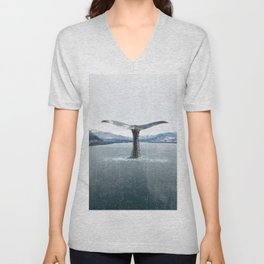 Whale In A French Lake Unisex V-Neck