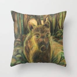 Wild pig in the wood Throw Pillow