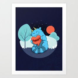 Rawrmeo, the Cuddly Happy Chaos Monster Art Print