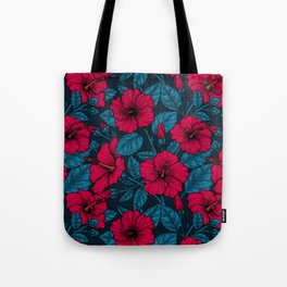 Red hibiscus flowers Tote Bag