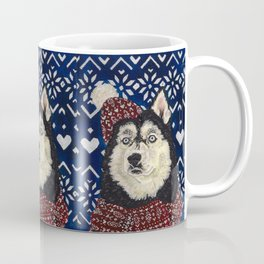 Husky in a Hat and Scarf Coffee Mug