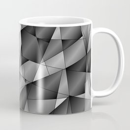 Exclusive monochrome pattern of chaotic black and white fragments of glass, metal and ice floes. Coffee Mug