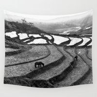 vietnam Wall Tapestries featuring Horses on rice paddies in northern Vietnam by CAPTAINSILVA