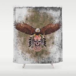Indian Native Flaying Eagle Sugar Skull Shower Curtain