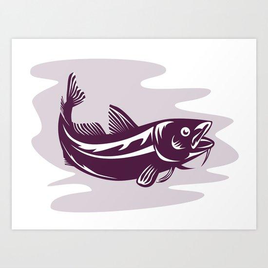 Atlantic Codfish Retro Art Print