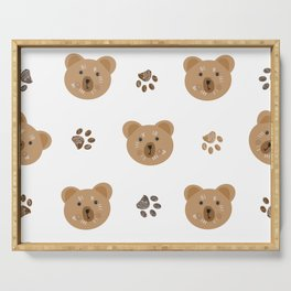 Brown doodle paw print and teddy bear white Serving Tray