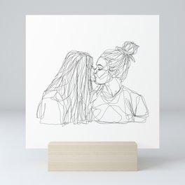 Girls kiss too Mini Art Print