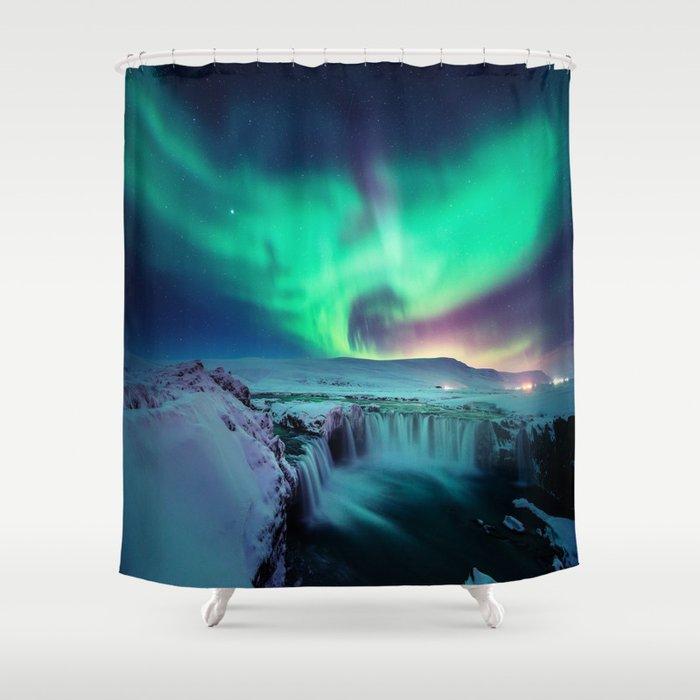 Aurora Borealis Over A Waterfall Shower Curtain by nikosliolios ...