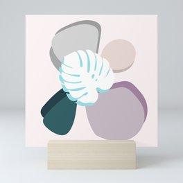 Monstera on Pebbles Mini Art Print