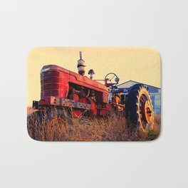 old tractor red machine vintage Bath Mat
