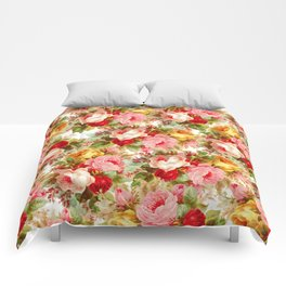 Boho chic pink yellow red roses floral vintage painting Comforters