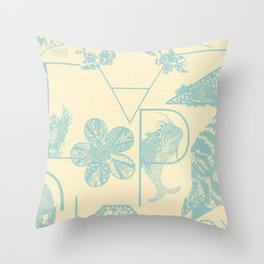 Letters in blue Throw Pillow