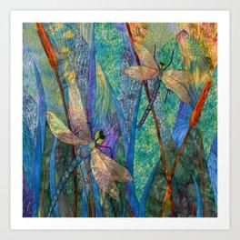 Colorful Dragonflies Art Print