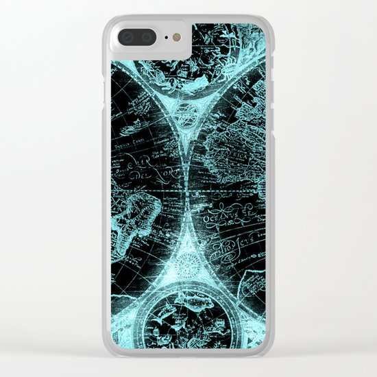 Antique World Map Turquoise Teal Blue Green Clear iPhone Case