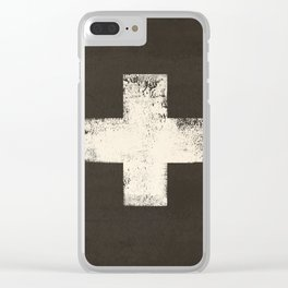 Ski Patrol Sign Cross X Vintage Clear iPhone Case