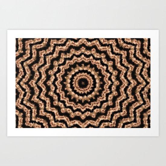 Kaleidoscope Beige Circular Pattern on Black Art Print