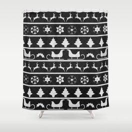 Black & White Ugly Sweater Nordic Knit Shower Curtain