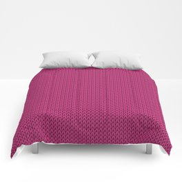 Knitted spring colors - Pantone Pink Yarrow Comforters
