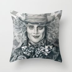 Mad Hatter - Johnny Depp Traditional Portrait Print Throw Pillow