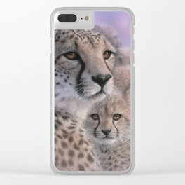 Cheetah Mother and Cubs - Mothers Love Clear iPhone Case