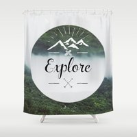 explore Shower Curtains featuring Explore by Quellasenzanick