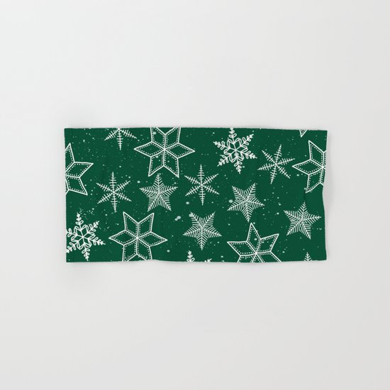 Snowflakes On Green Background Hand & Bath Towel