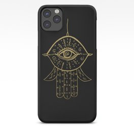 Hamsa Hand Gold on Black #1 #drawing #decor #art #society6 iPhone Case