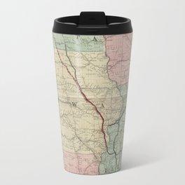 Vintage Midwestern United States Railroad Map Travel Mug