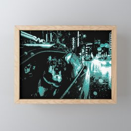Police dog riding Shotgun  Framed Mini Art Print