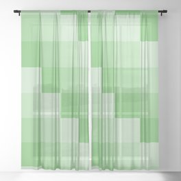 Four Shades of Green Square Sheer Curtain