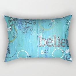 Believe Blue Rectangular Pillow