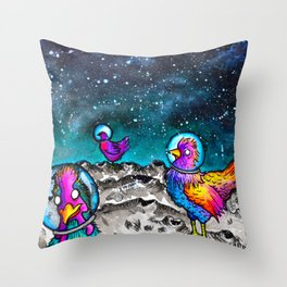 Space Chickens Throw Pillow